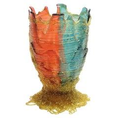 Contemporary Gaetano Pesce Spaghetti M Vase Resin Fuchsia Aqua Amber