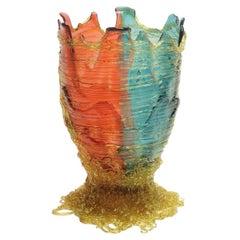 Contemporary Gaetano Pesce Spaghetti L Vase Resin Fuchsia Aqua Amber
