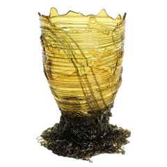 Contemporary Gaetano Pesce Spaghetti Vase Soft Resin Grey Yellow