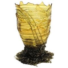 Contemporary Gaetano Pesce Spaghetti XL Vase Soft Resin Grey Yellow