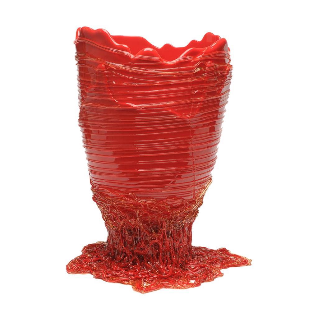 Contemporary Gaetano Pesce Spaghetti L Vase Soft Resin Red
