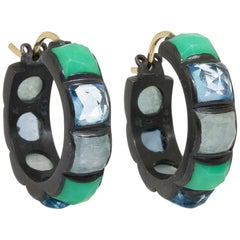 Contemporary Gemstone Gold and Oxidized Hoop Earrings