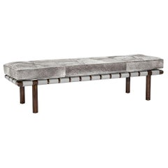 Contemporary Genuine Cowhide Bench, Walnut Finished Frame