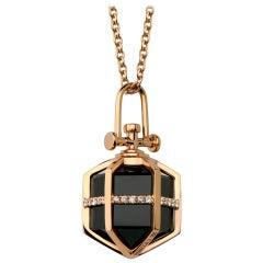 Contemporary Geometric 18k Rose Gold Smoky Quartz Point Diamond Talisman Pendant