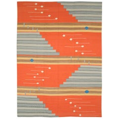 Contemporary Geometric and Abstract Turkish Handmade Flat-Weave Room Size Carpet