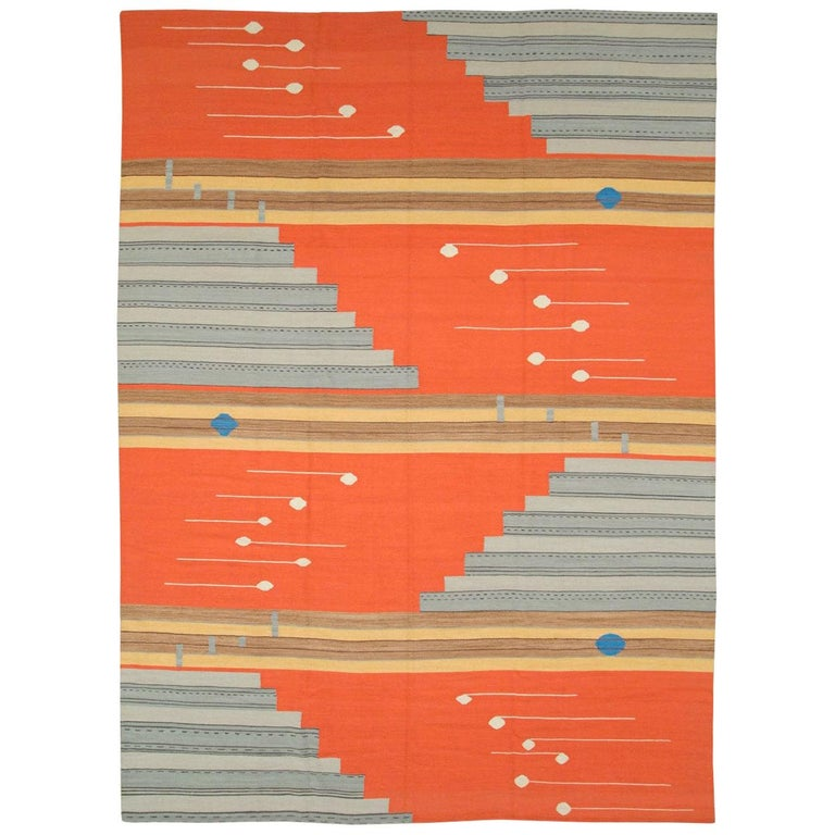 Contemporary Geometric and Abstract Turkish Handmade Flat-Weave Room Size Carpet For Sale