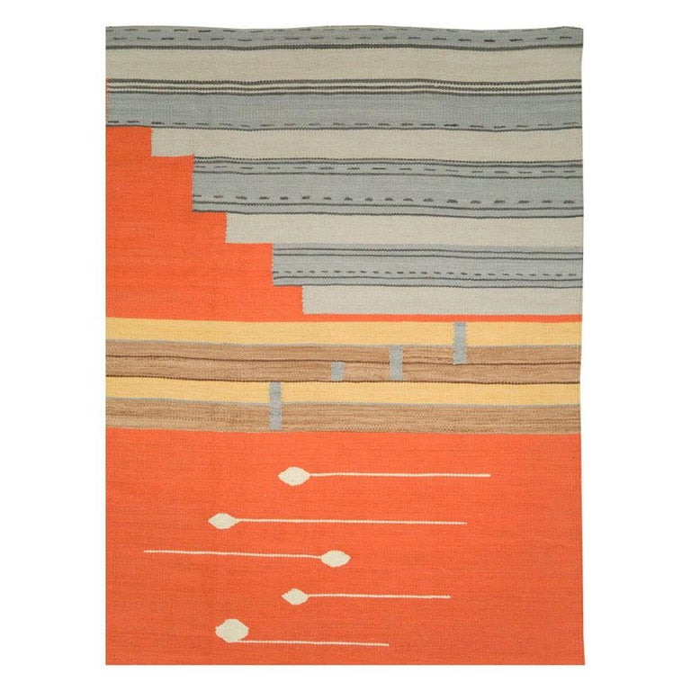 Hand-Woven Contemporary Geometric and Abstract Turkish Handmade Flat-Weave Room Size Carpet For Sale