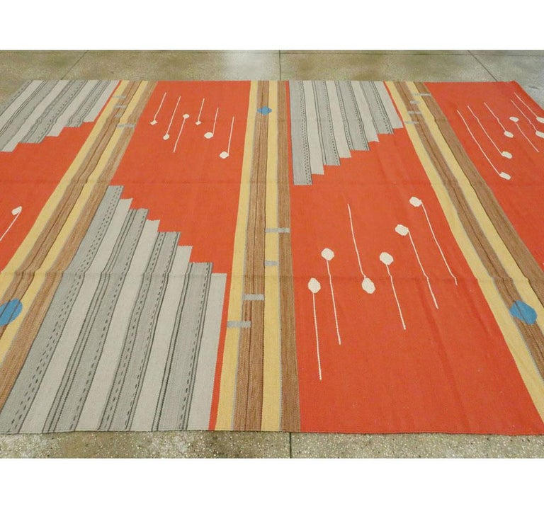 Contemporary Geometric and Abstract Turkish Handmade Flat-Weave Room Size Carpet For Sale 2