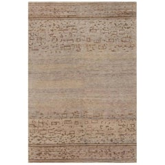 Contemporary Geometric Beige & Brown Hemp Rug