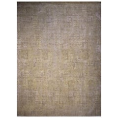 Contemporary Geometric Beige Wool and Silk Rug with Dot Pattern