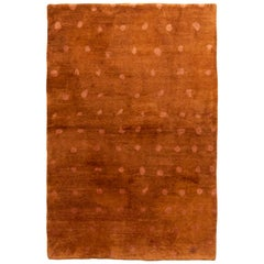 Contemporary Geometric Brown Dot Wool and Silk Rug