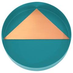 Contemporary Geometric Copper and Blue Metal Coaster Set
