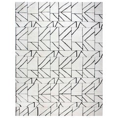 Contemporary Geometric 'Dash' Black and White Hand Knotted Wool Rug