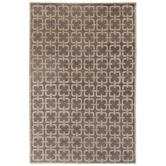 Contemporary Geometric Design Gray and Beige Rug