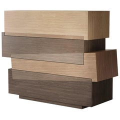 Contemporary Geometric Dresser with Wood Finishing Booleanos by Joel Escalona