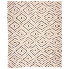 Contemporary Geometric Flat-Weave Handmade Beige Kilim Wool Rug