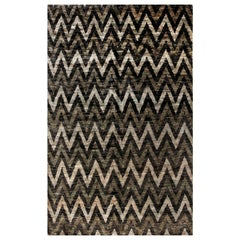 Contemporary Geometric Gray and Black Zigzag Hand Knotted Hemp Rug