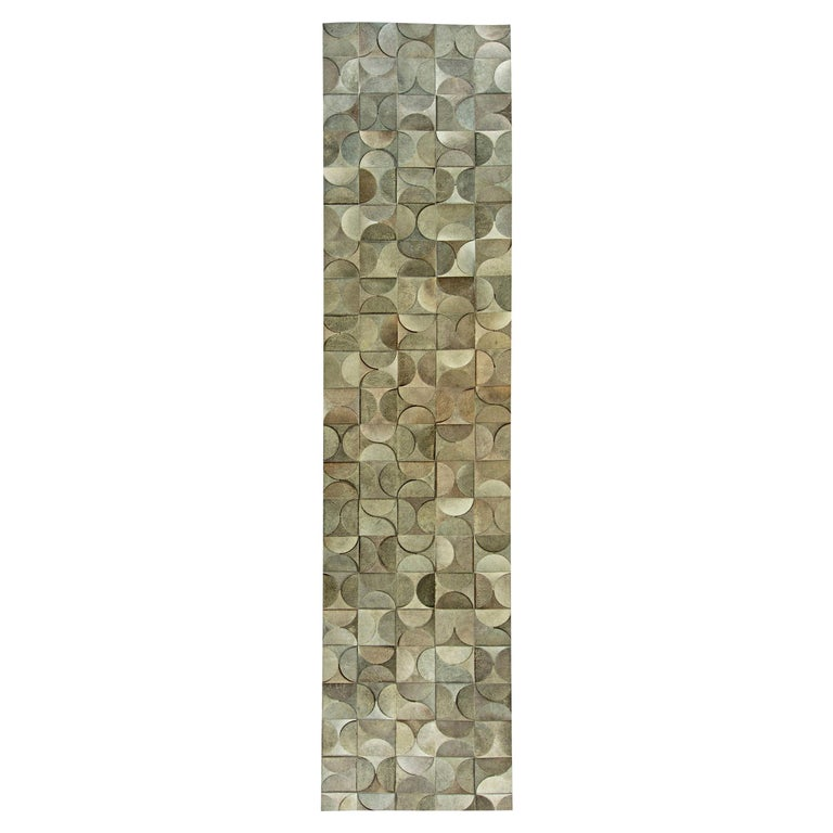 Contemporary Geometric, Gray, Leather and Hair Handmade Rug For Sale