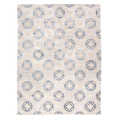 Contemporary Geometric Gray Silk and Wool Indian Rug