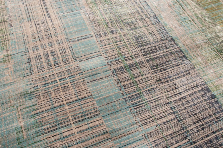 Modern Contemporary Geometric Green and Blue Wool Rug For Sale