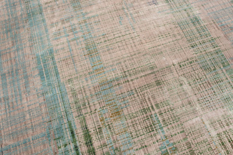 Indian Contemporary Geometric Green and Blue Wool Rug For Sale