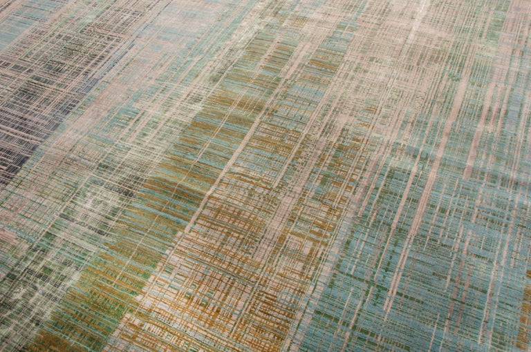 Hand-Knotted Contemporary Geometric Green and Blue Wool Rug For Sale