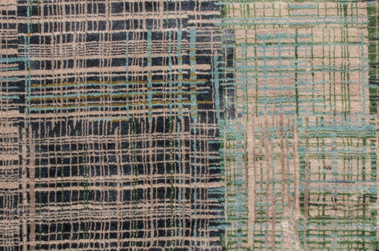 Contemporary Geometric Green and Blue Wool Rug For Sale 1