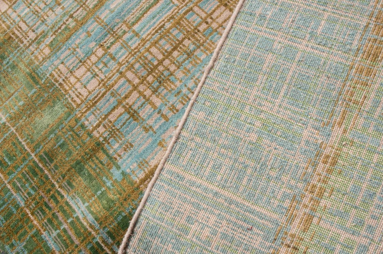 Contemporary Geometric Green and Blue Wool Rug For Sale 2