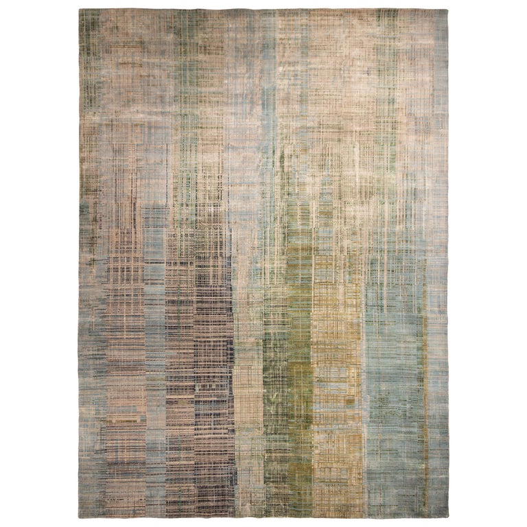 Contemporary Geometric Green and Blue Wool Rug For Sale