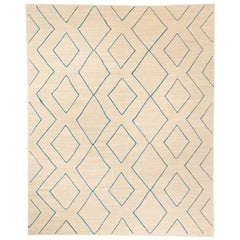 Contemporary Geometric Handmade Beige and Blue Wool Rug