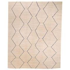Contemporary Geometric Handmade Beige and Blue Wool Rug