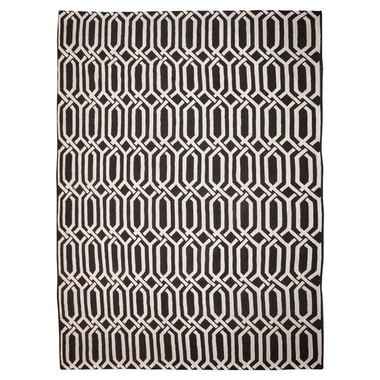Black And White Geometric Rugs For Sale: Contemporary Geometric Handmade Black And White Wool Rug