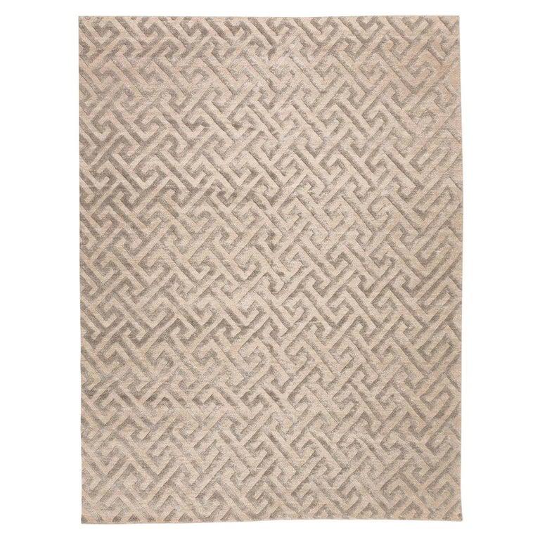Contemporary Geometric Handmade Gray Silk and Wool Rug For Sale