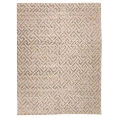 Contemporary Geometric Handmade Gray Silk and Wool Rug