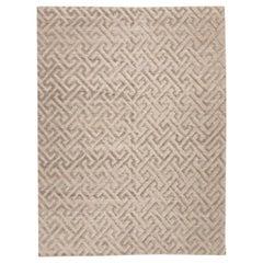 Contemporary Geometric Handmade Silk and Wool Gray Rug