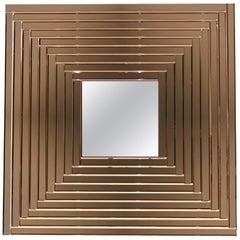 Contemporary Geometric Italian Rose Bronze Murano Glass Gradient Square Mirror