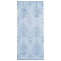 Contemporary Geometric Ivory Blue Wool and Silk Runner