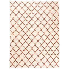 Contemporary Geometric Kilim, Red and Beige Colors