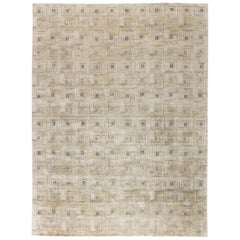 Contemporary Geometric 'Maze' Hand Knotted Silk Rug