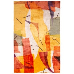 Contemporary Geometric Orange and Yellow Wool-Silk Rug
