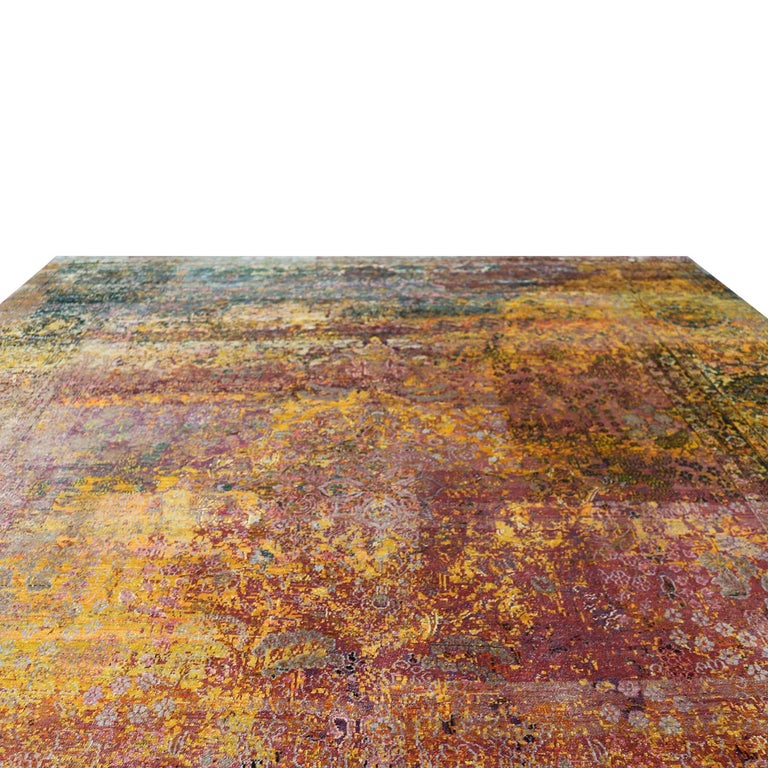 Modern Contemporary Geometric Pomegranate and Gold Silk Rug For Sale