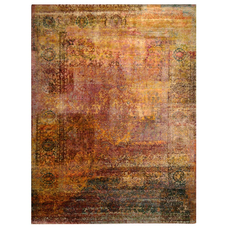 Contemporary Geometric Pomegranate and Gold Silk Rug For Sale