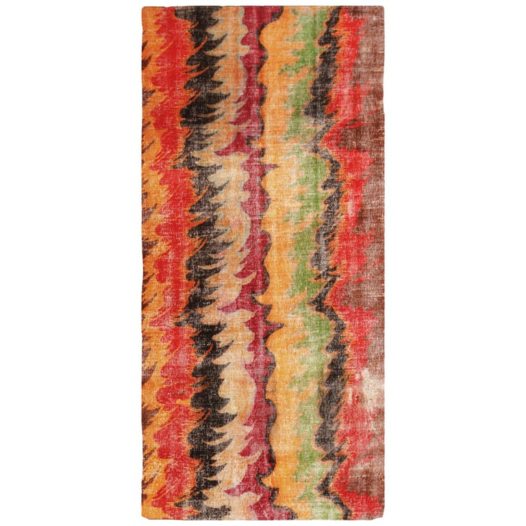 Contemporary Geometric Red and Yellow Multi-Color Wool Rug For Sale