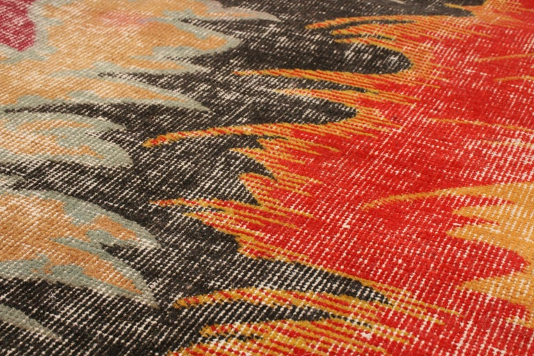 Hand-Knotted Contemporary Geometric Red and Yellow Multi-Color Wool Rug For Sale