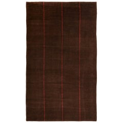Contemporary Geometric Red Line Brown Wool Geometric Rug