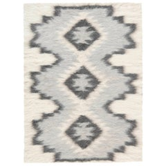 Contemporary Geometric Stamverband V Steely Blue and White Goat Hair Rug