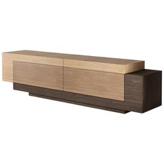 Contemporary Geometric TV Cabinet with Wood Finishing Booleanos by Joel Escalona
