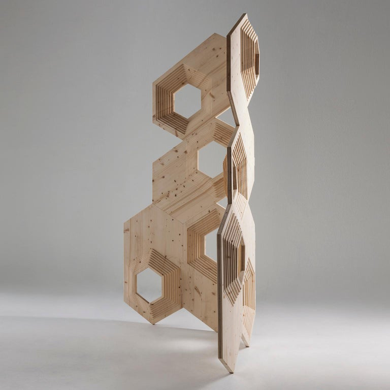 Modern Contemporary Geometric Wood Room Divider by Sebastiano Bottos, Italia For Sale