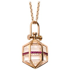 Contemporary Geometrical 18 Karat Gold Ruby and Crystal Talisman Necklace