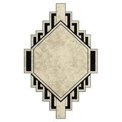 21th Century Modern Geometrical Shape Black & Beige Rug Sustainable Fibers